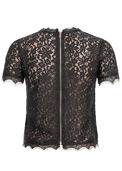 Hailys Damen Allover Spitzen Shirt mit Stickerei Zipper hinten schwarz