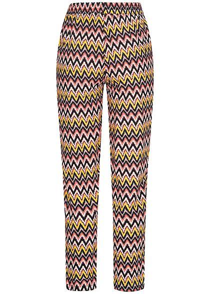 Hailys Damen Sommer Hose 2-Pockets Deko Tunnelzug Zick Zack Print rosa gelb mc