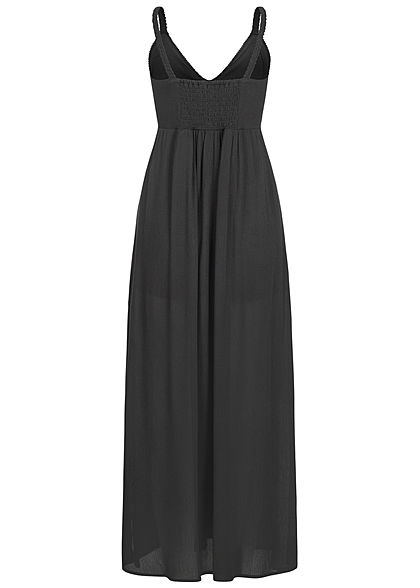 Hailys Damen V-Neck Maxi Krepp Kleid Häkelbesatz oben 2-lagig schwarz