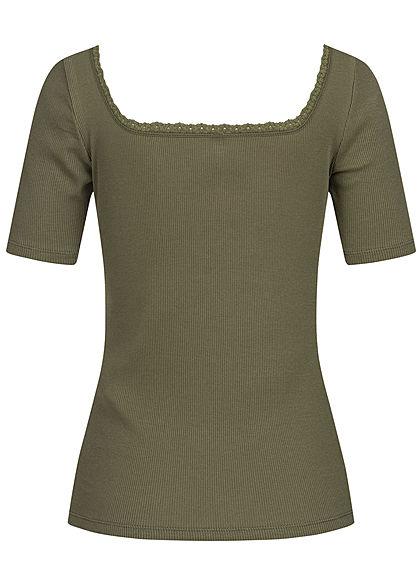 ONLY Damen Ribbed Carre' T-Shirt mit Spitze kalamata oliv grün