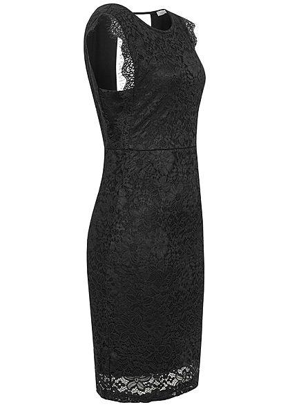 Hailys Damen Mini Spitzen Kleid Rückenausschnitt 2-lagig schwarz