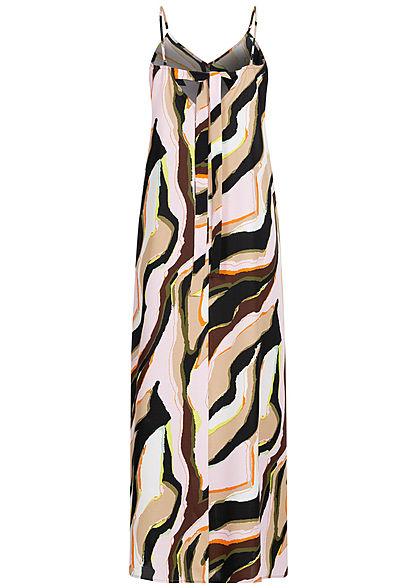 ONLY Damen V-Neck Maxi Kleid Abstrakter Print Schleife hinten cloud d. multicolor