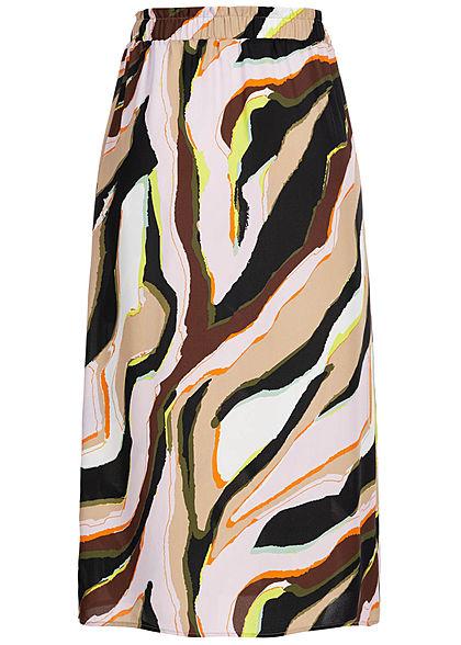 ONLY Damen High-Waist Midi Rock Abstrakter Print cloud d. multicolor