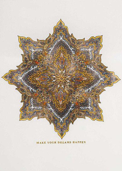 ONLY Damen Vokuhila Material Mix Top Mandala Dreams Print cloud dancer weiss gold