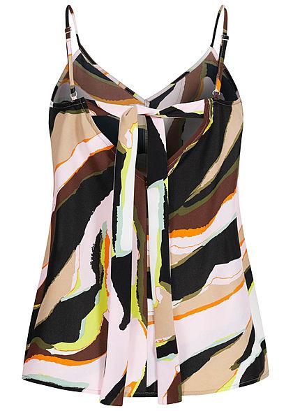ONLY Damen V-Neck Träger Top Schleife hinten Abstrakter Print cloud d. multicolor