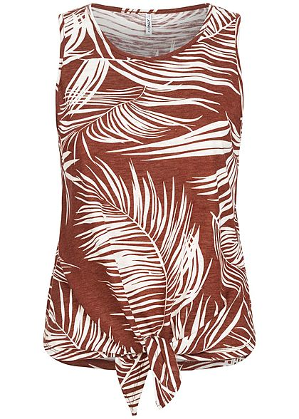 ONLY Damen Tank Top Bindedetail vorne Tropical Print burnt henna braun weiss