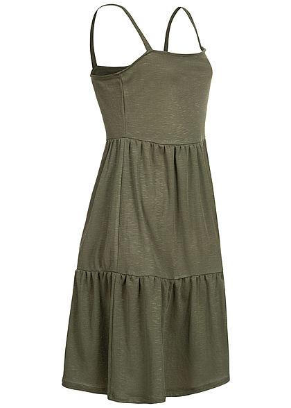 ONLY Damen Melange Puffer Mini Kleid kalamata oliv grün