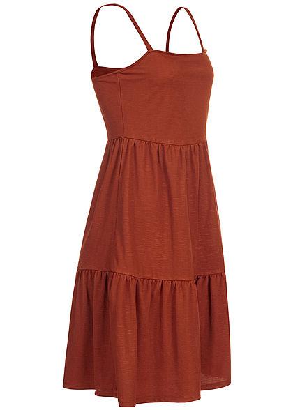 ONLY Damen Melange Puffer Mini Kleid burnt henna braun