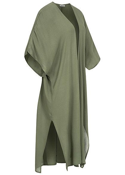 Hailys Damen 1/2-Arm Krepp Cardigan Schlitze seitlich khaki grün