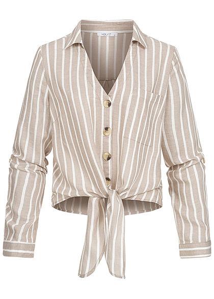 Hailys Damen Turn-Up V-Neck Bluse Streifen Muster Knoten vorne beige weiss