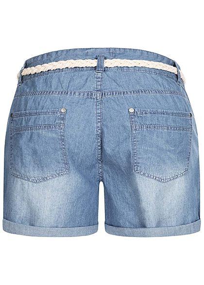 Eight2Nine Damen kurze Shorts 5-Pockets inkl. Flechtgürtel medium blau denim