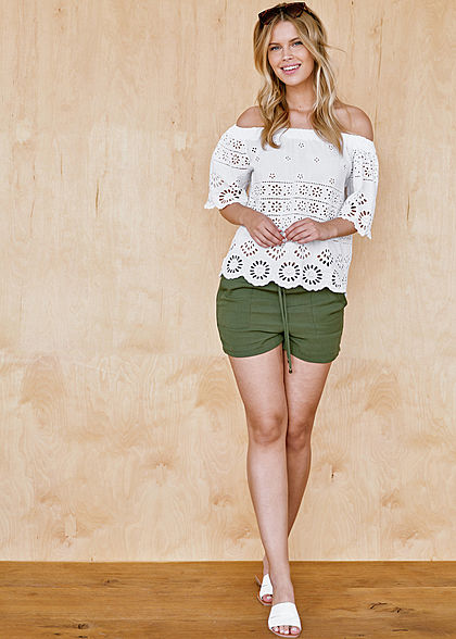 Hailys Damen Oversized Off Shoulder Blusen Shirt Lochmuster weiss