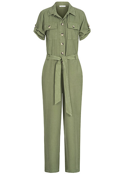 Hailys Damen Turn-up Jumpsuit  4-Pockets inkl. Bindegürtel Knopfleiste khaki grün