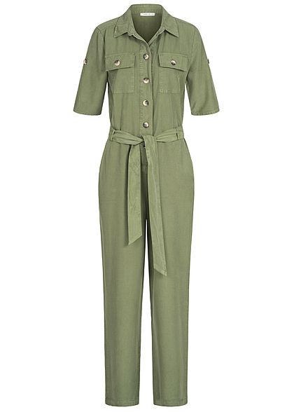 Hailys Damen Turn-up Jumpsuit  4-Pockets inkl. Bindegürtel Knopfleiste khaki grün