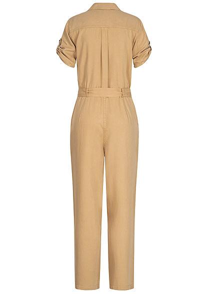 Hailys Damen Turn-up Jumpsuit  4-Pockets inkl. Bindegürtel Knopfleiste beige