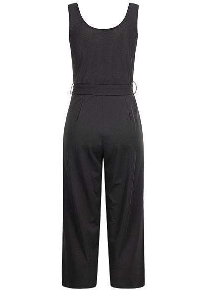 Hailys Damen 3/4 Jumpsuit  2-Pockets inkl. Bindegürtel schwarz