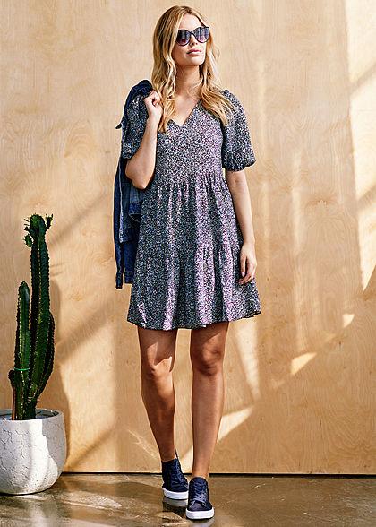 Hailys Damen V-Neck Chiffon Mini Kleid 2-lagig Blumen Print schwarz rosa