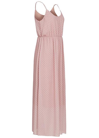 Hailys Damen Maxi Chiffon Kleid Punkte Muster 2-lagig rosa weiss