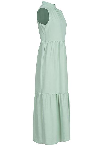 Hailys Damen Puffer Maxi Kleid Schleife hinten jade grün