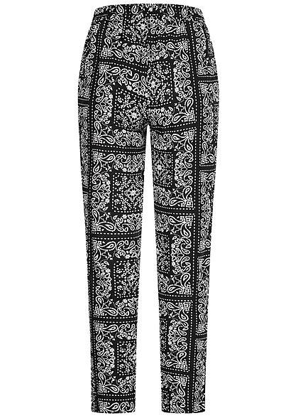 Hailys Damen Sommer Hose 2-Pockets Deko Tunnelzug Paisley Print schwarz weiss