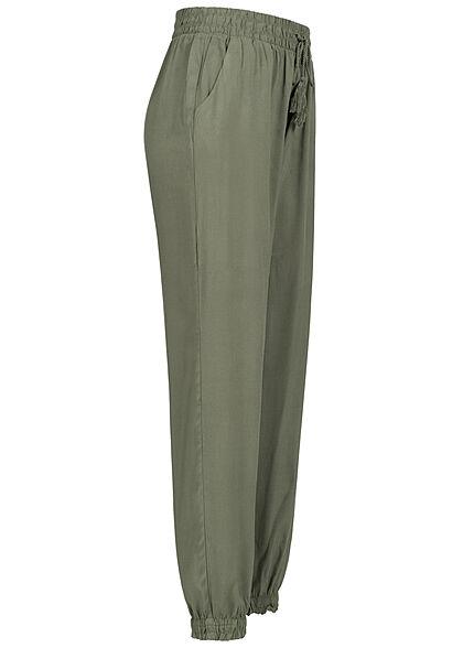 Hailys Damen Sommer Hose 2-Pockets Deko Tunnelzug khaki grün
