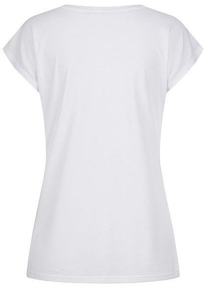 Zabaione Damen T-Shirt Make it happen Gitzer Print weiss kupfer