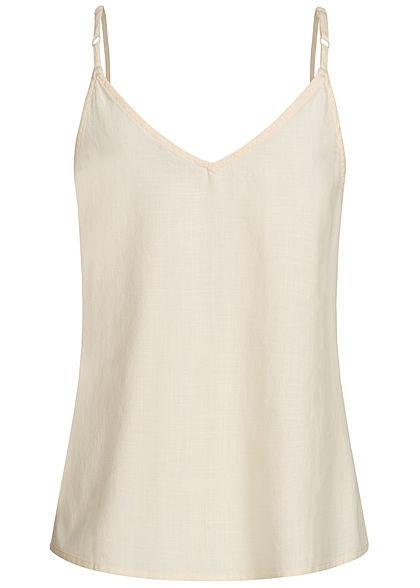Tom Tailor Damen V-Neck Träger Top mit Deko Knopfleiste soft creme beige