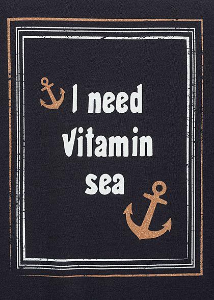 Zabaione Damen T-Shirt Need Vitamin Sea Anker Glitzer Print navy blau weiss gold