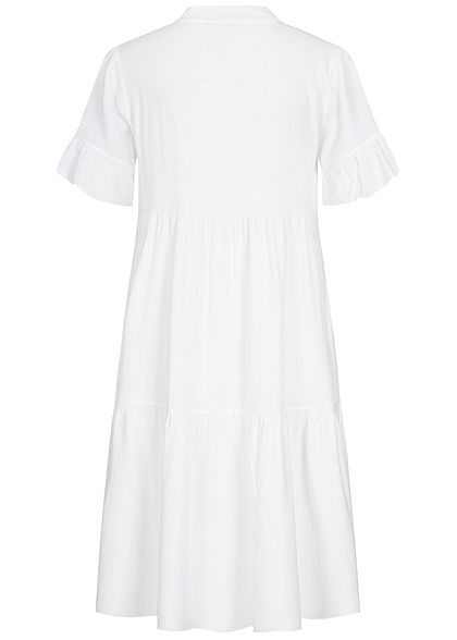 Zabaione Damen Oversized V-Neck Puffer Kleid weiss
