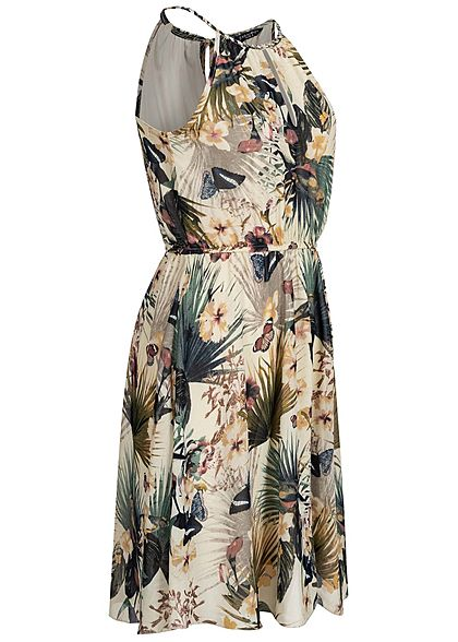 Zabaione Damen Mini Chiffon Kleid Taillengummibund 2-lagig Tropical Print beige mc