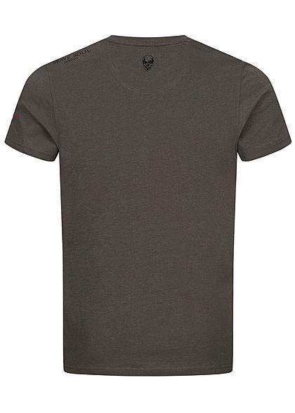 Brave Soul Herren T-Shirt Skulls Head Print charcoal dunkel grau