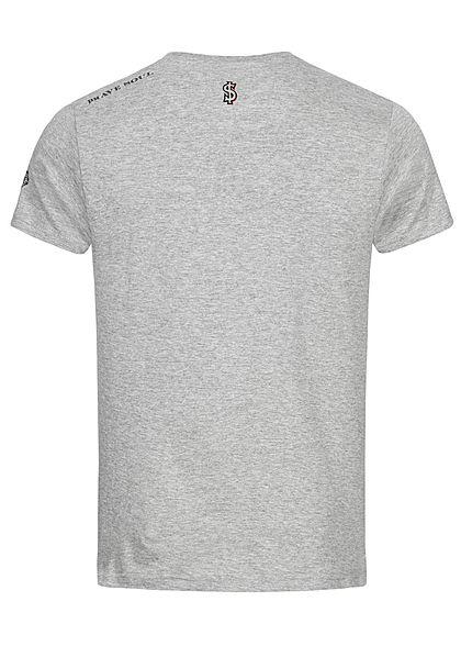 Brave Soul Herren T-Shirt Benjamin Franklin Dollar Print medium grau
