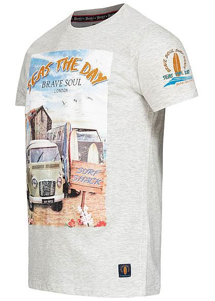 Brave Soul Herren T-Shirt Seas the Day Beach Print ecru beige grau melange