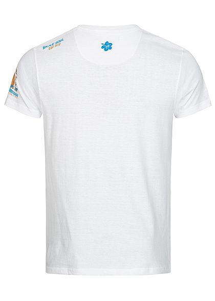 Brave Soul Herren T-Shirt Seas the Day Beach Print optic weiss