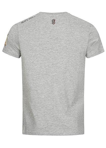 Brave Soul Herren T-Shirt Animals Dollar Print hell grau melange