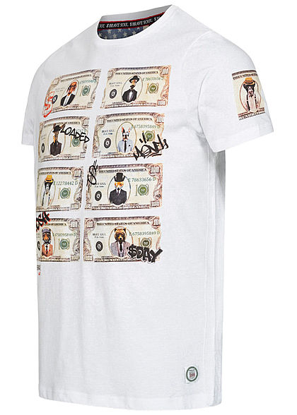 Brave Soul Herren T-Shirt Animals Dollar Print weiss