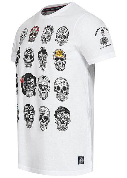 Brave Soul Herren T-Shirt Skulls Head Face Tattoo Print weiss
