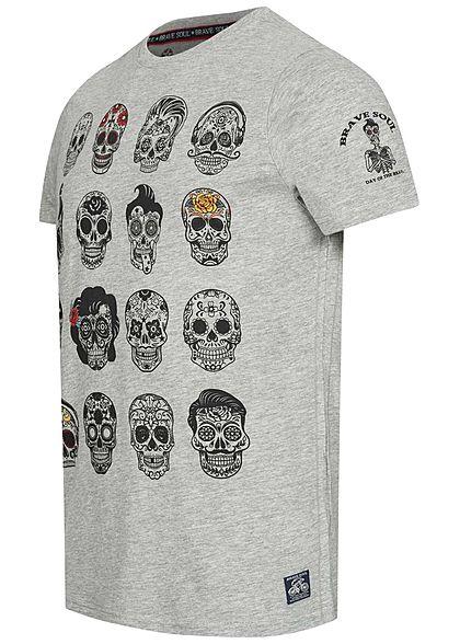 Brave Soul Herren T-Shirt Skulls Head Face Tattoo Print medium grau melange