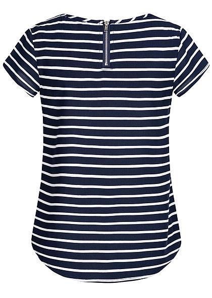 Hailys Kids Mädchen T-Shirt Streifen Muster Zipper hinten navy blau weiss