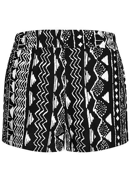 Hailys Kids Mädchen Viskose Sommer Shorts Allover Pint schwarz weiss
