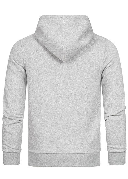 Jack and Jones Herren Sweat Hoodie Kapuze Kängurutasche Dog Print hell grau melange