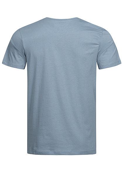 Jack and Jones Herren T-Shirt Frontprint ashley blau