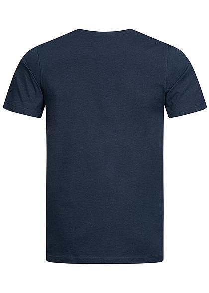 Jack and Jones Herren T-Shirt Sommer Frontprint blazer navy blau