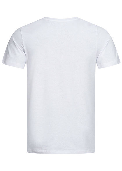 Jack and Jones Herren T-Shirt Sommer Frontprint weiss