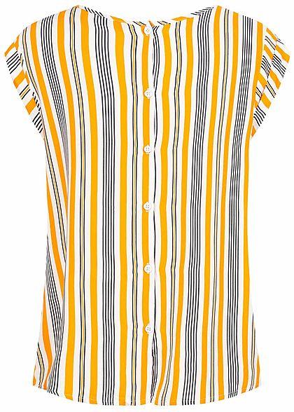 Fresh Made Damen Blusen Shirt Knopfleiste hinten Streifen Muster curcuma orange navy