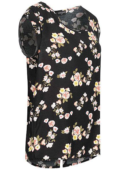 Fresh Made Damen Blusen Shirt Knopfleiste hinten Blumen Muster schwarz rosa