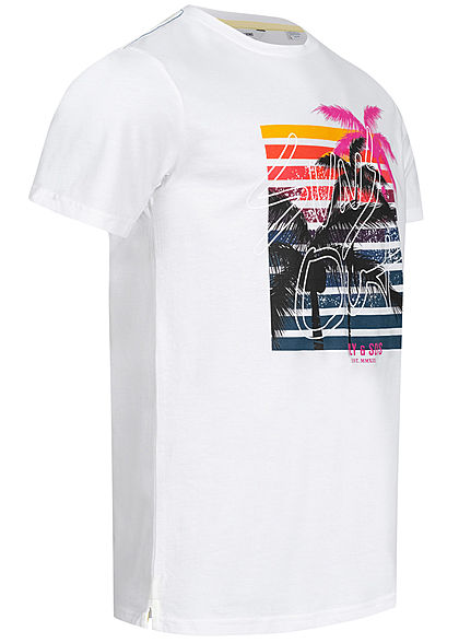ONLY & SONS Herren T-Shirt Sunset Logo Print bright weiss multicolor