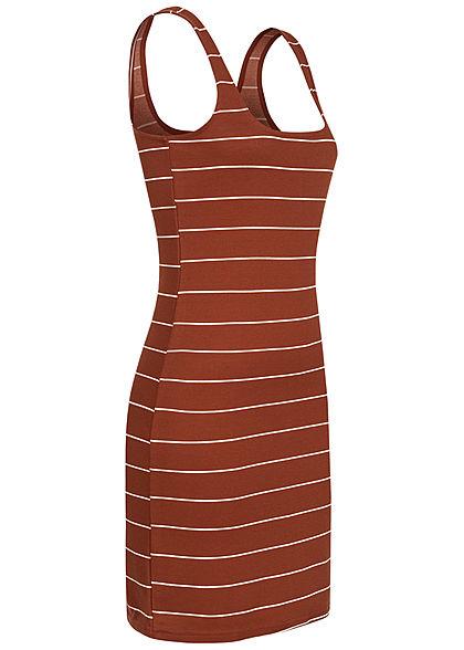 ONLY Damen Mini Bodycon Kleid Streifen Muster burnt henna braun weiss