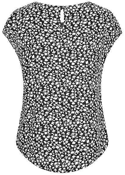 Hailys Kids Mädchen Viskose T-Shirt Vokuhila Blumen Muster schwarz weiss