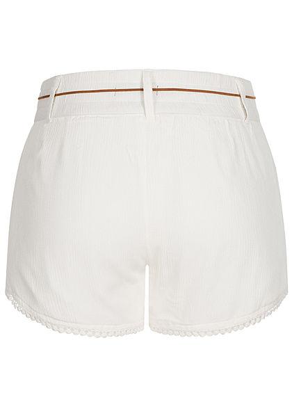 Eight2Nine Damen Sommer Shorts 2-Pockets inkl. Feder Gürtel off weiss
